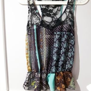 Colourful Sheer Tank Top w Cinched Waist- XS